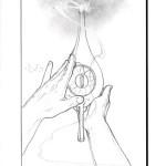 Aladdin Rubbing the Lamp Sketch - original production concept drawing