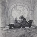 Beauty and the Beast- Rose Window Graphite Composition