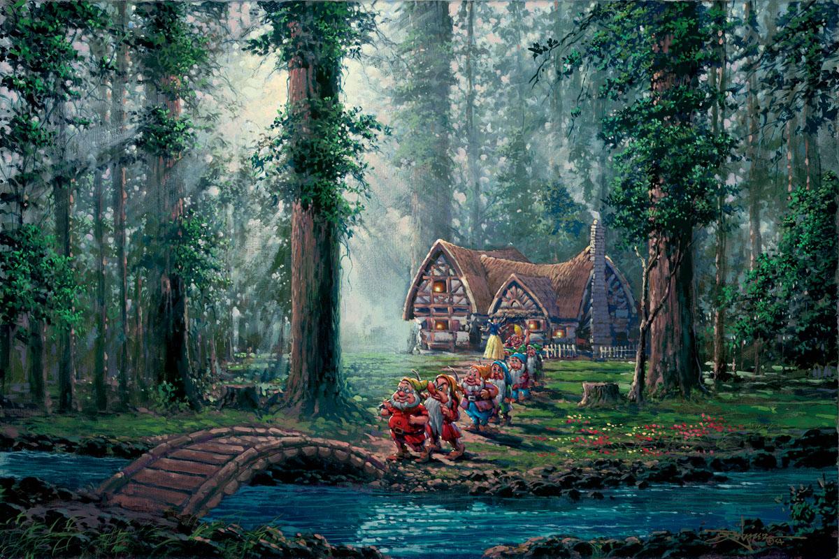 morning walk seven dwarfs embellished giclee on canvas by