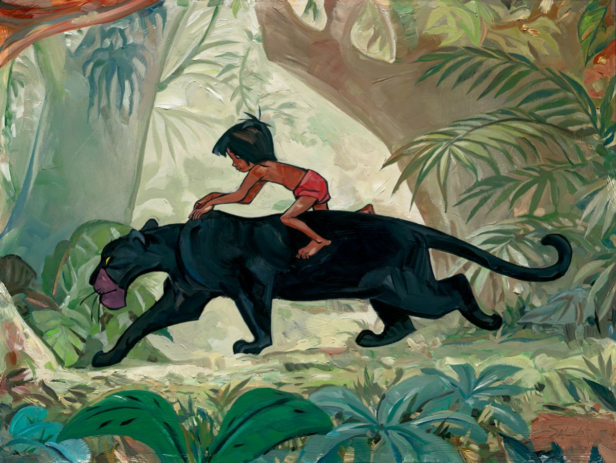 Jungle Guardian Jungle Book Embellished Giclee on Canvas by Jim Salvati