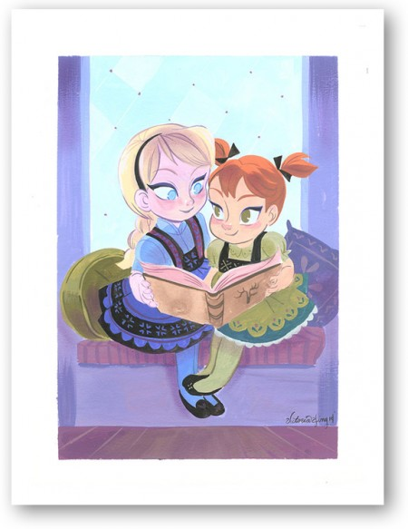 Sisters Frozen Disney Limited Edition Giclee on Paper by Victoria Ying