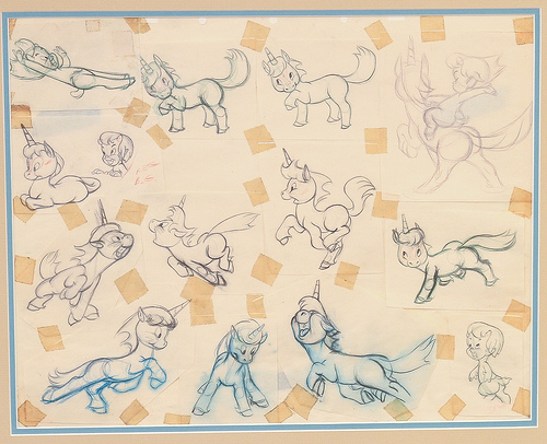 Unicorn model sheet from Fantasia available at ArtInsights