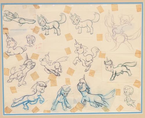 Unicorn model sheet from Fantasia available at ArtInsights