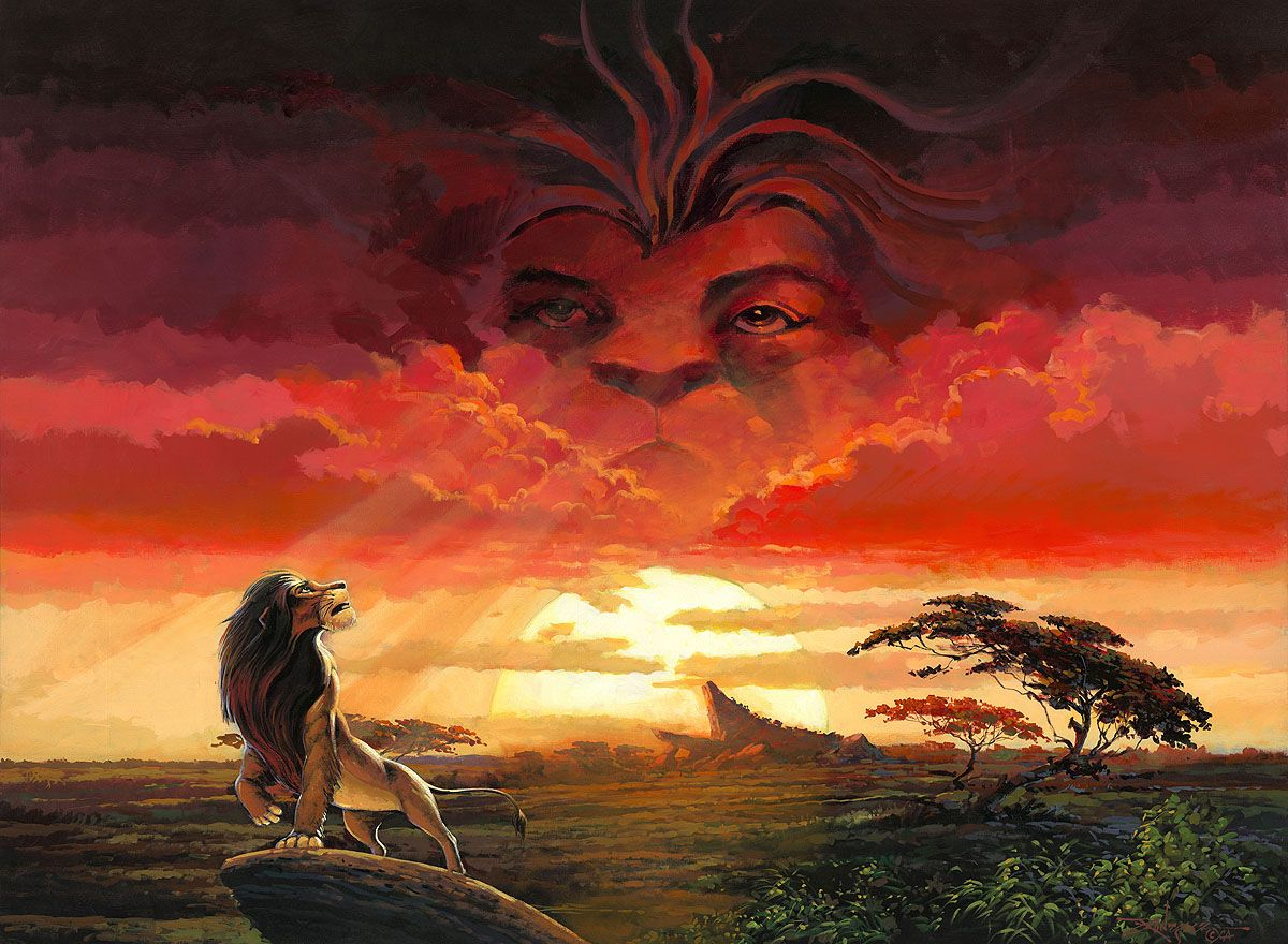Remember Who You Are The Lion King Embellished Giclee On Canvas By Rodel Gonzalez