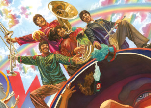 Fab Four Yellow Submarine Mini Canvas by Alex Ross