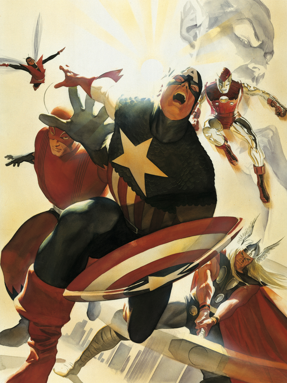 Avengers with Captain America, Iron Man, and Thor limited edition Marvel art by Alex Ross last minute gift idea $150