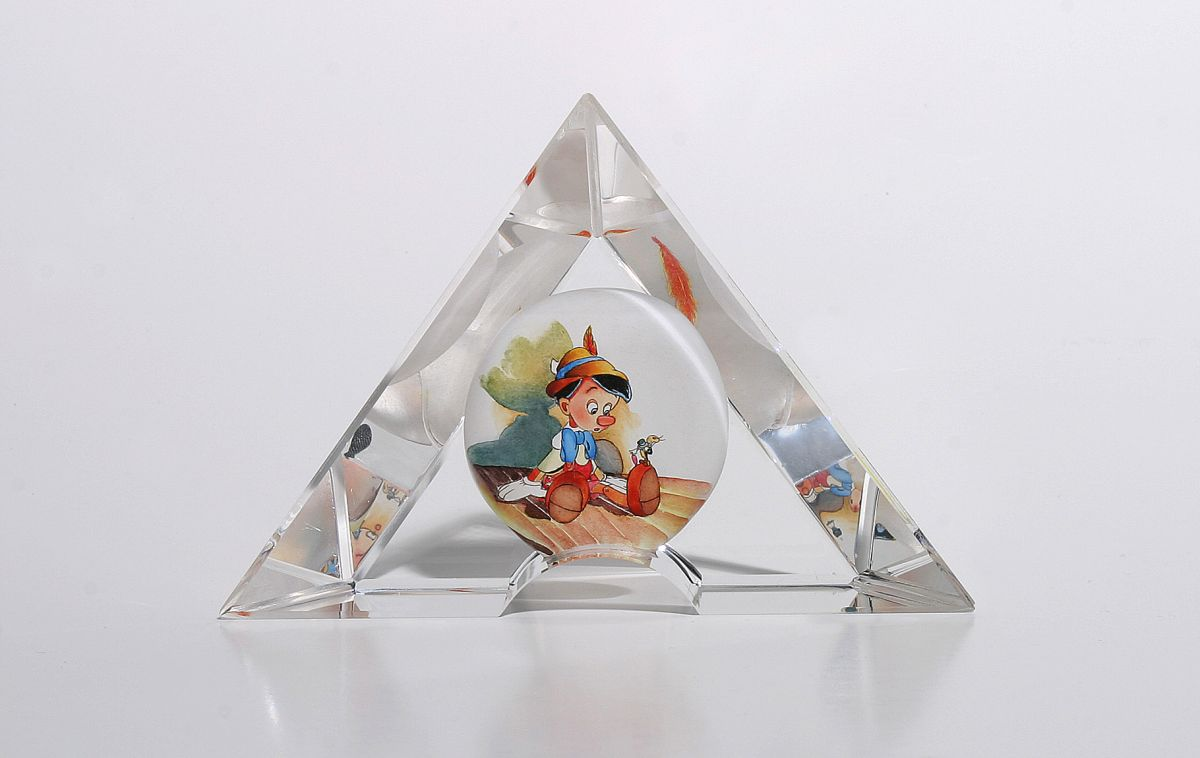 Good Advice Pinocchio and Jiminy Cricket Toby Bluth art glass