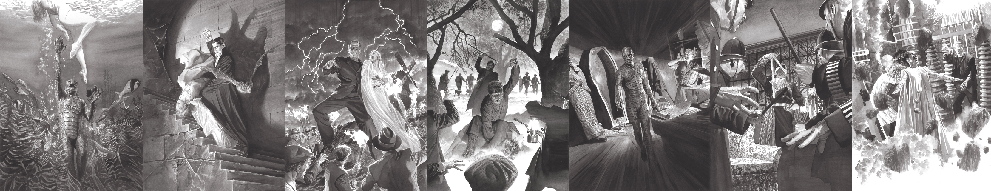 The whole set of Universal Monsters giclees on canvas by Alex Ross
