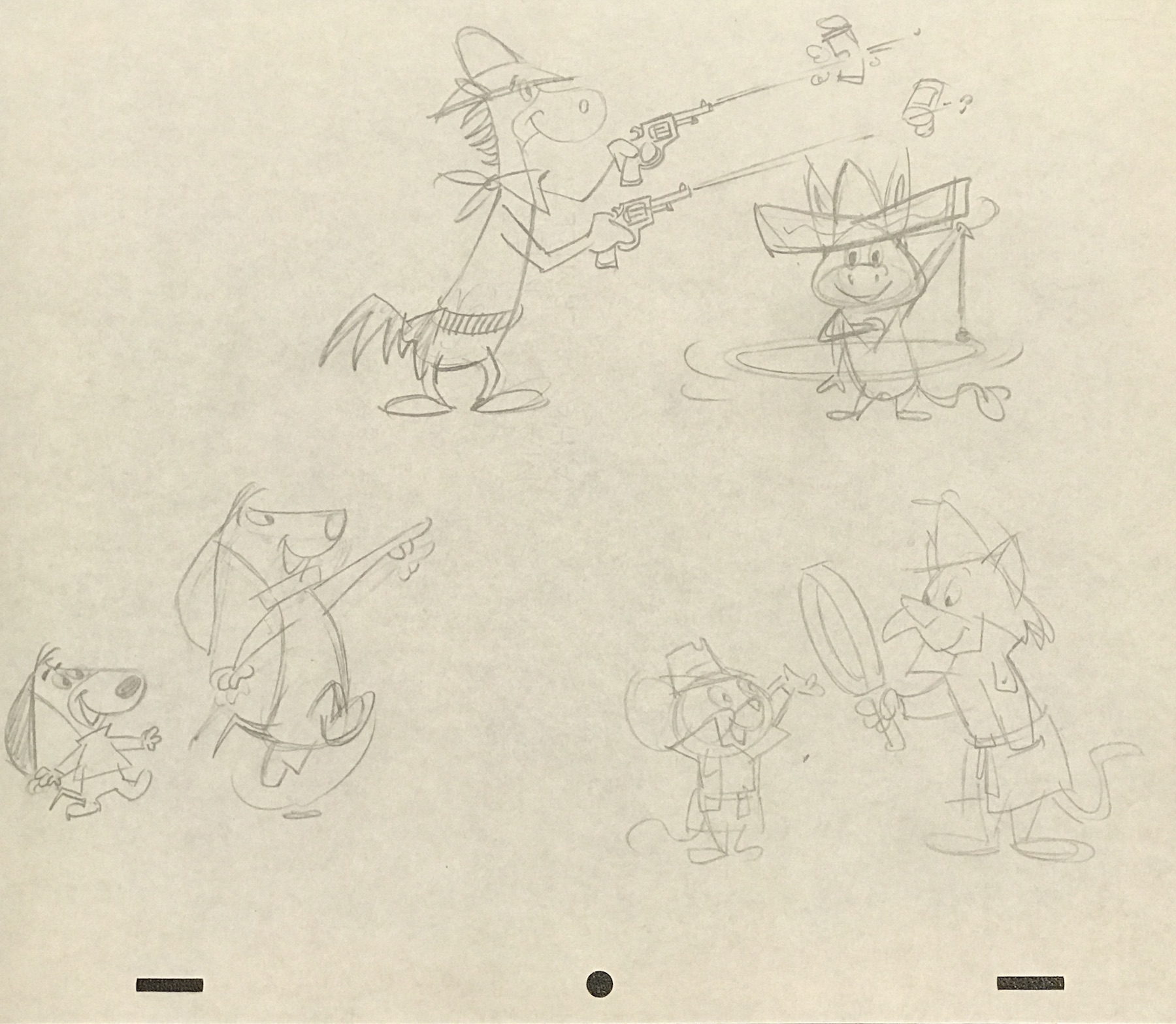 A layout/model drawing of Hanna Barbera characters from 1959 available at ArtInsights