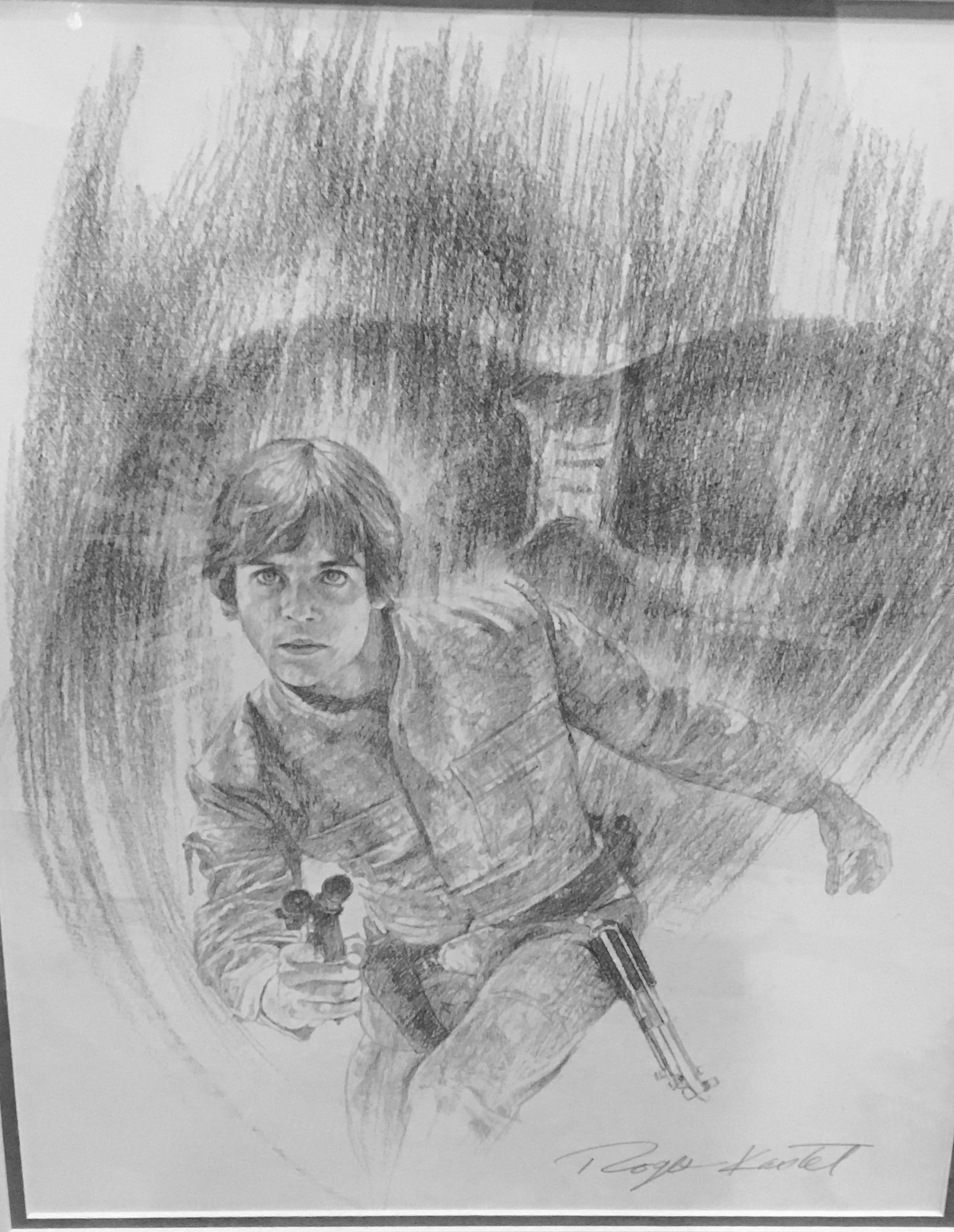 An original graphite by The Empire Strikes Back movie poster artist Roger Kastel
