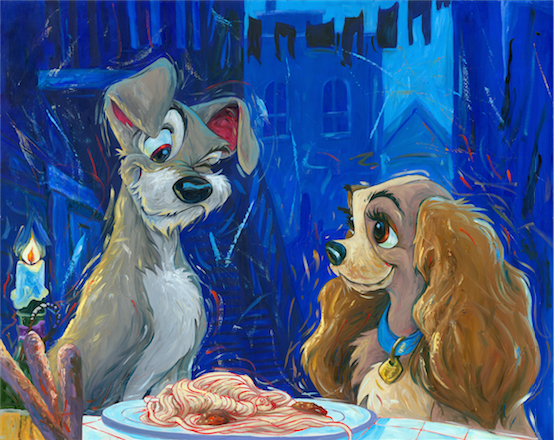 A Wink And A Smile Lady And Tramp Artist Proof Giclee On Canvas By William Silvers