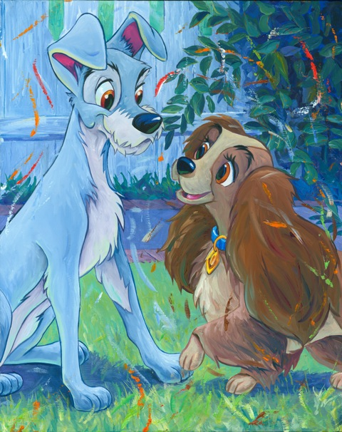 Puppy Love Lady And Tramp Artist Proof Giclee On Canvas By William Silvers