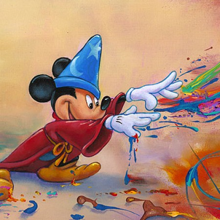 Magical Hands Mickey Mouse Embellished Giclee On Canvas By Jim Warren Artist