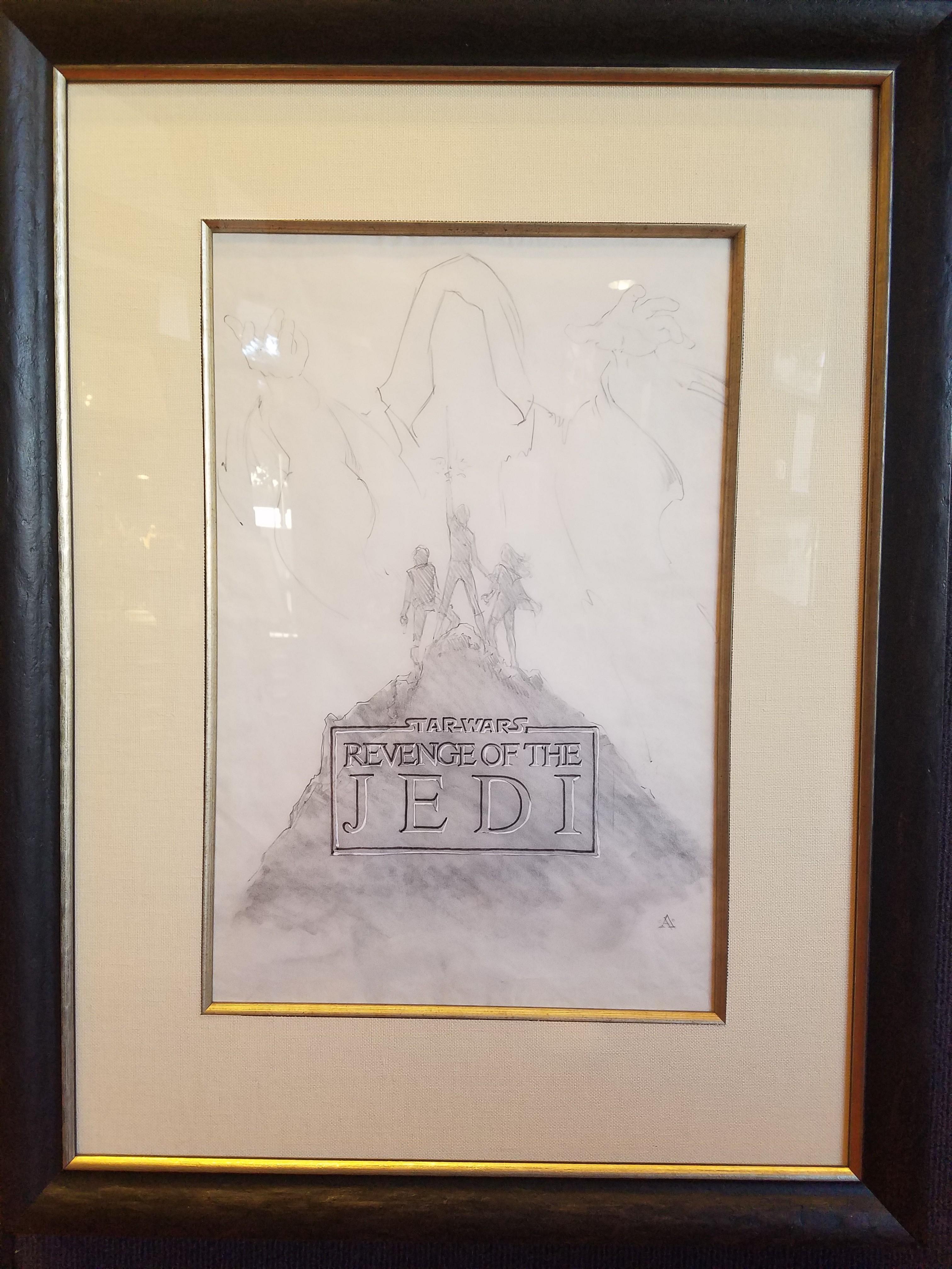 Star Wars Revenge Of The Jedi Poster Concept Art Graphite On Paper By John Alvin